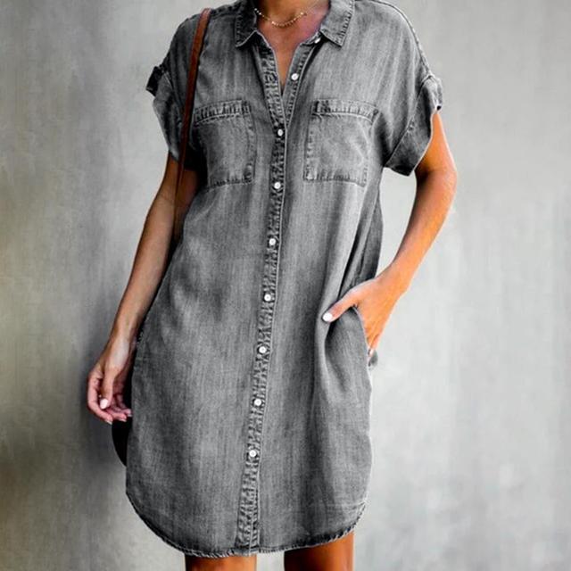 Women Short Sleeve Pockets Single-breasted Irregular Hem Knee-length Loose Dress Polyester Women Summer Dress Lady Dress 2