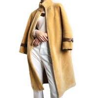 Abrigo largo de piel de oveja Real abrigo de invierno cálido chaqueta de piel de oveja genuina de las señoras 100% abrigo de lana