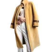 Real pele de ovelha casaco longo casaco de inverno das mulheres quente genuíno casaco de pele de ovelha senhoras 100% lã