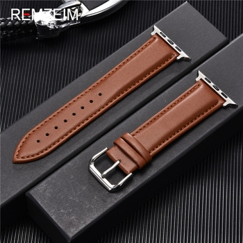 Calfskin Genuine Leather Watchband 38mm 40mm for iwatch 1 2 3 4 5 Soft Material Replace Wrist Strap 42mm 44mm Apple Watch - discount item  55% OFF Watches Accessories