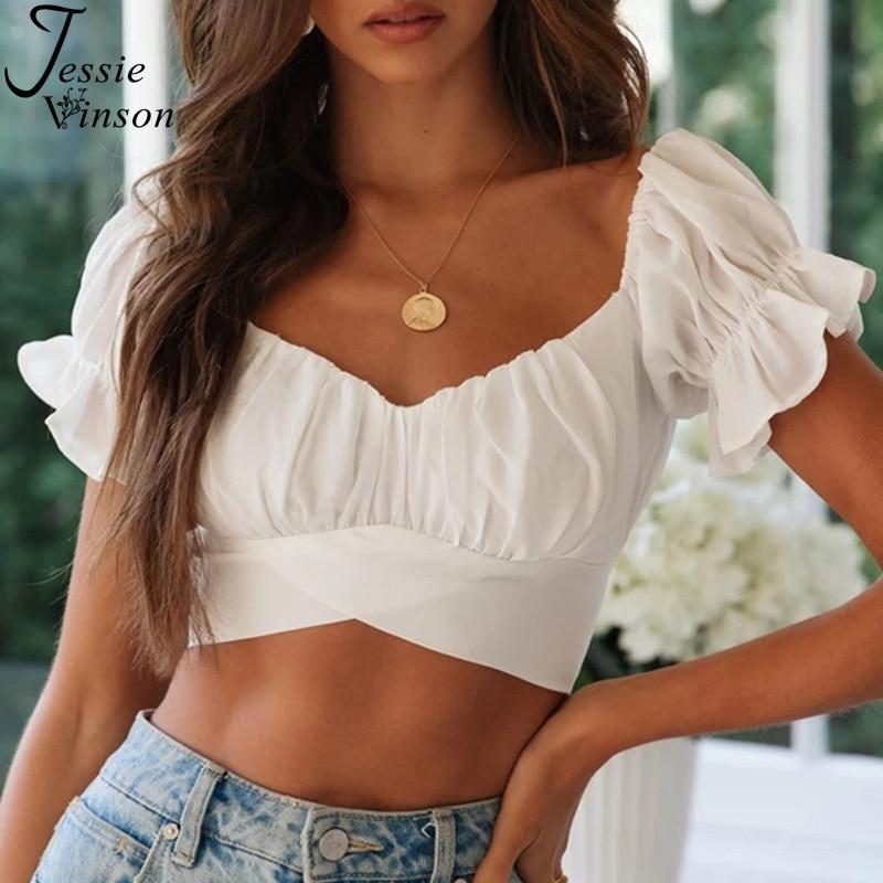 Jessie Vinson Short Sleeve Off Shoulder Crop Top Women Blouse Summer Short Sleeve V Neck Short Blouse Sexy Women Tops And Blouse