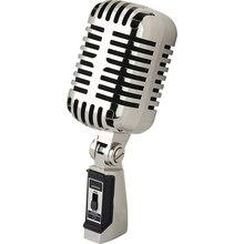 Clásico micrófono Vocal Retro antiguo micrófono hipercardioide Vintage, soporte Universal para grabación y Streaming en PC, Plata