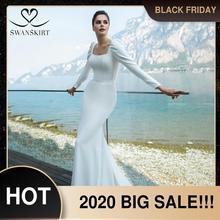 Женское свадебное платье с юбкой годе, Элегантное Атласное Платье на пуговицах с квадратным вырезом и длинными рукавами, свадебное платье, GY45, 2020