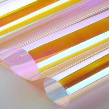 SUNICE okno naklejki kameleon dekoracyjne folie okienne Cosplay DIY cięcia Decor Film wspaniały kolor tęczy 137cm x 500cm tanie i dobre opinie 20 -40 80 -100 Boczne Szyby Folie okienne i ochrona słoneczna 0 4kg DIY Cosplay Chameleon Color 35cm Decorative Film
