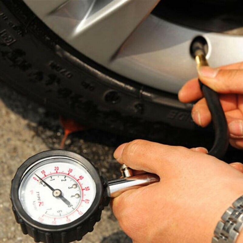 Otomobiller ve Motosikletler'ten Lastik Basıncı Monitör Sistemleri'de 0 100PSI evrensel araba kamyon Motor lastik hava basıncı ölçer Dial metre test cihazı title=