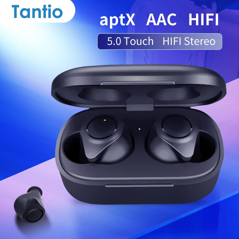 Tantio TWS W1 Aptx Bluetooth Headphones With Qualcomm Chipset Touch Control Totally High Performance Wireless Earphones