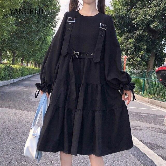 Yangelo Harajuku Women Black Midi Dress Gothic Punk Style Suspenders Bandage Dress Vintage Ruffles Long Baggy Cosplay Costume 3