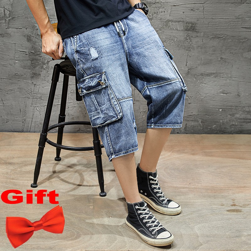 2020 New Men Denim Shorts Big Pockets Motor Biker Style Jean Short Casual Streetwear Leisure Male summer Home Pants