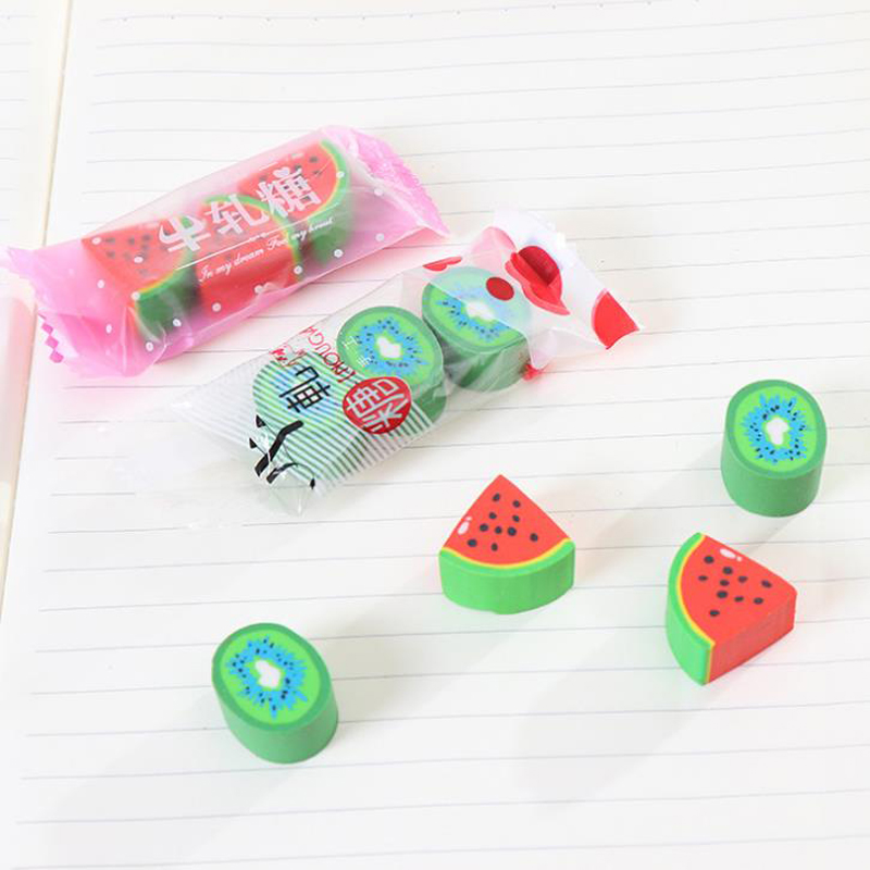 6 Pcs/set Fruit Watermelon Kiwi Candy Nougat Rubber Pencil Erasers Drawing Sketch Tools Office School Stationery