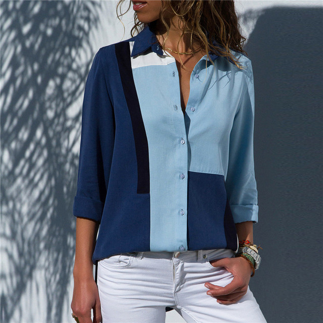 Ladies Fashion Patchwork Color Chiffon Blouse High Quality Casual Long Sleeve Tops Elegant Turn Down Collar Buttons Shirts S-3XL 3