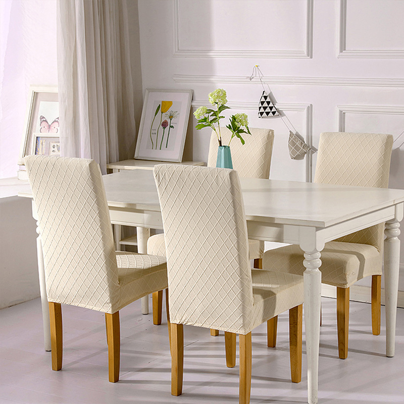 1/4/6 Pcs Jacquard Plain Dining Chair Cover Spandex Elastic Chair Slipcover Case Stretch Chair Cover for Wedding Hotel Banquet 1