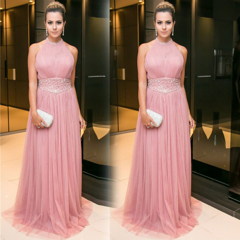 2019 Europe And America Foreign Trade New Style Formal Dress Wish Amazon Hot Selling Crew Neck Sleeveless Slim Fit Formal Dress
