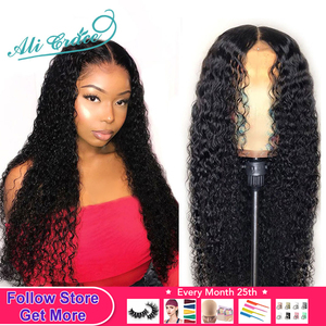 Ali Grace Wigs Brazilian Deep Curly Lace Front Wig Pre Plucked 360 Lace Frontal Wigs Remy Hair Kinky Curly Human Hair Wigs(China)