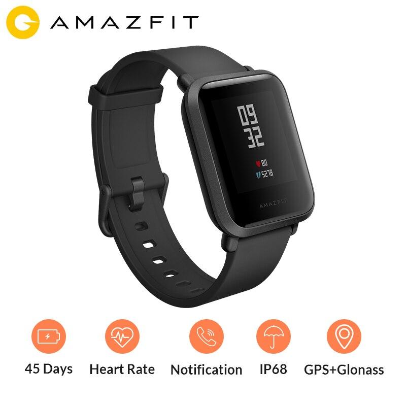 Xiao mi Amazfit Bip montre intelligente sport montre GPS boussole fréquence cardiaque mi Fit IP68 étanche appel re mi nder Glonass anglais russe