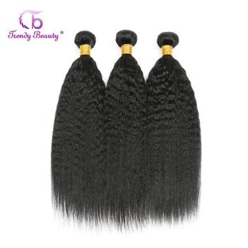 Peruvian Kinky Straight Hair 1/3/4 Bundles Non-Remy 100% Human Hair 8-30 Inches Free Shipping Natural Black Color Trendy Beauty image