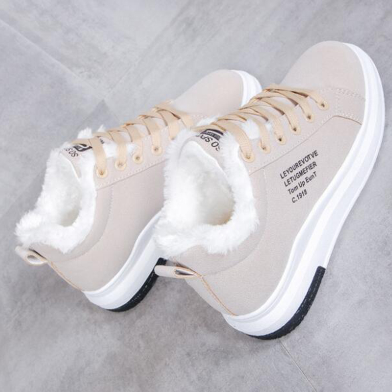 NAUSK 2019 Winter Women Shoes Warm Fur Plush Lady Casual Shoes Lace Up Fashion Sneakers Zapatillas Mujer Platform Snow Boots