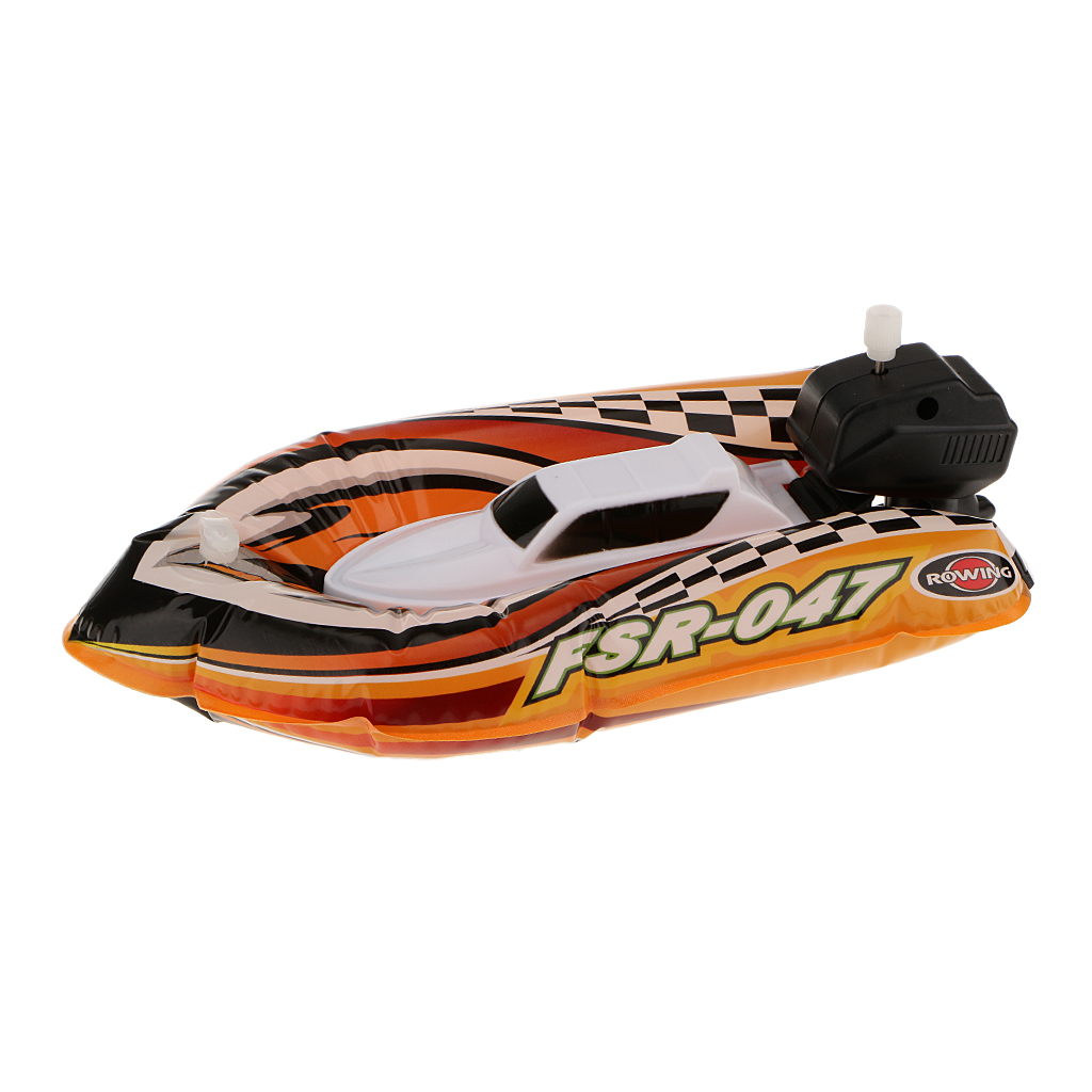 Kids Inflatable Wind Up Speedboat Boat Pool Bath Toy Random Color #4