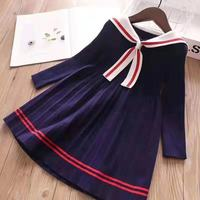 Brand 2019 New Autumn Solid Navy Blue Short Sleeve Princess party Girls Clothing Girls Dress 3 4 6 8 10 12Y
