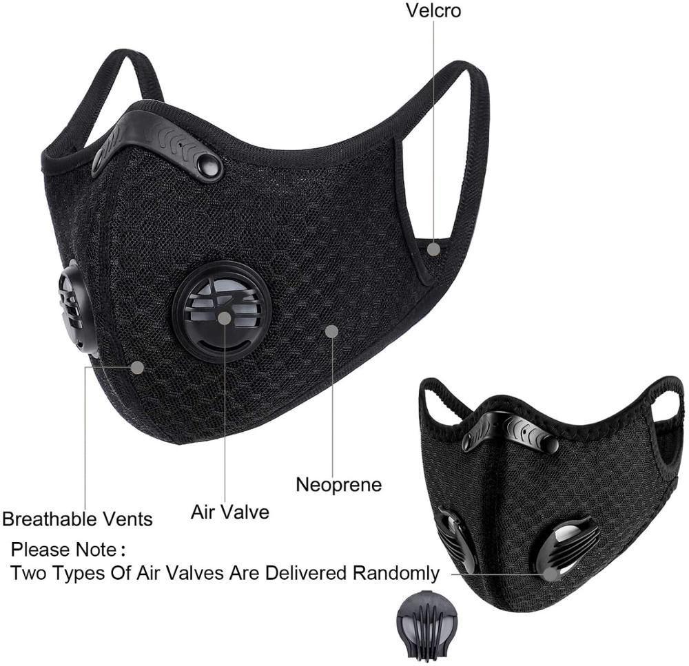 Cycling Anit-fog Mask With Active Carbon Filter Anit-pollution Breathable PM2.5 Respirator Sports Bike Anti Dust Mask