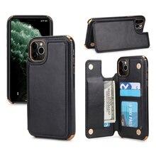 موضة جديدة شاملة الجانب الوجه بطاقة تصفيح زر الهاتف حقيبة لهاتف أي فون 6 6S 7 8 Plus X XR XS MAX 11 11Pro ماكس جراب هاتف