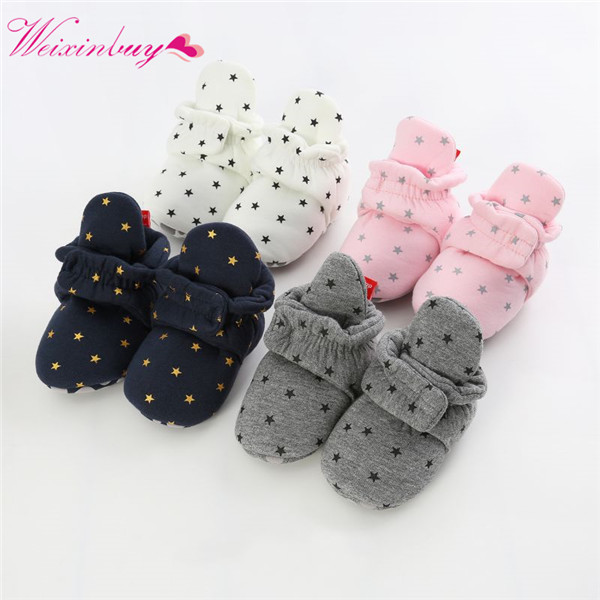 Newborn Baby Socks Shoes Boy Girl Star Toddler First Walkers Booties Cotton Comfort Soft Anti-slip Warm Infant  Baby  Shoes