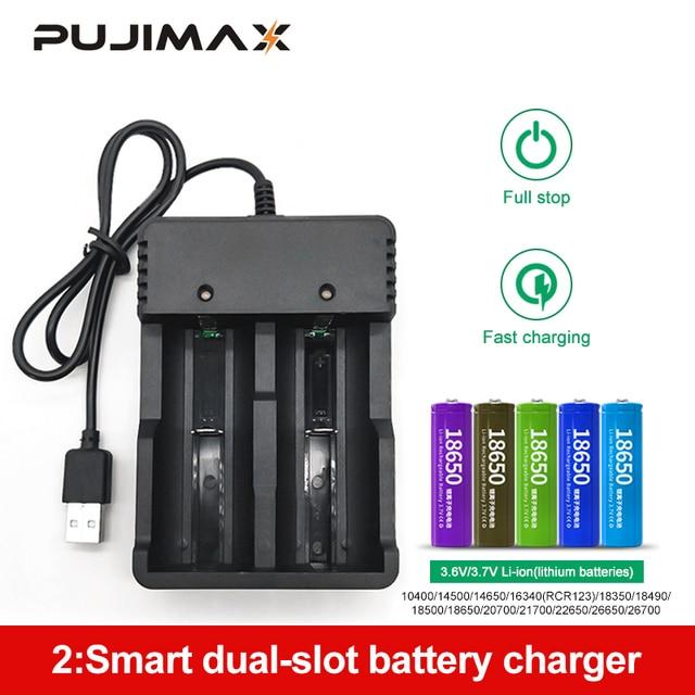 PUJIMAX 18650 شاحن بطارية USB 2 فتحات الذكية شحن 26650 21700 14500 26500 22650 26700 ليثيوم أيون بطارية قابلة للشحن شاحن بطارية