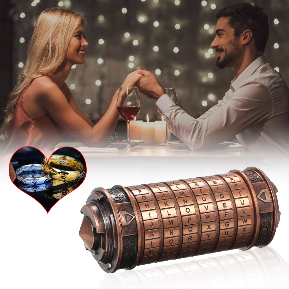Image 5 - Da Vinci Code Lock Toys Metal Cryptex Locks Retro Wedding Gifts Valentine's Day Gift Letter Password Escape Chamber Props-in Locks from Home Improvement