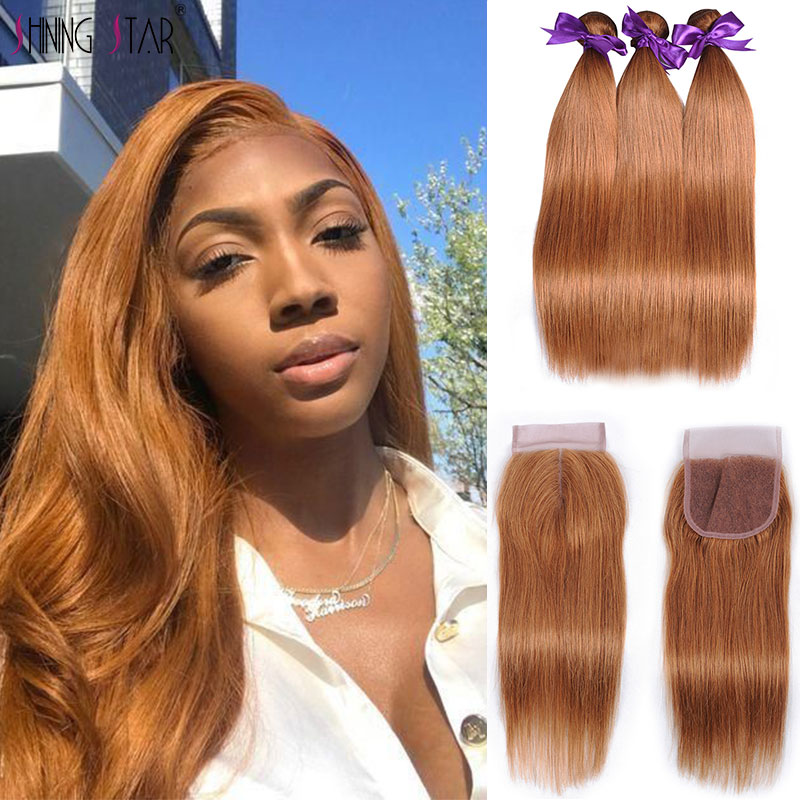 Gold Blonde 3 Bundles With Closure Straight Peruvian Hair Bundles With Closure Colored 30 26 Inches Shining Star Remy Hair Weave