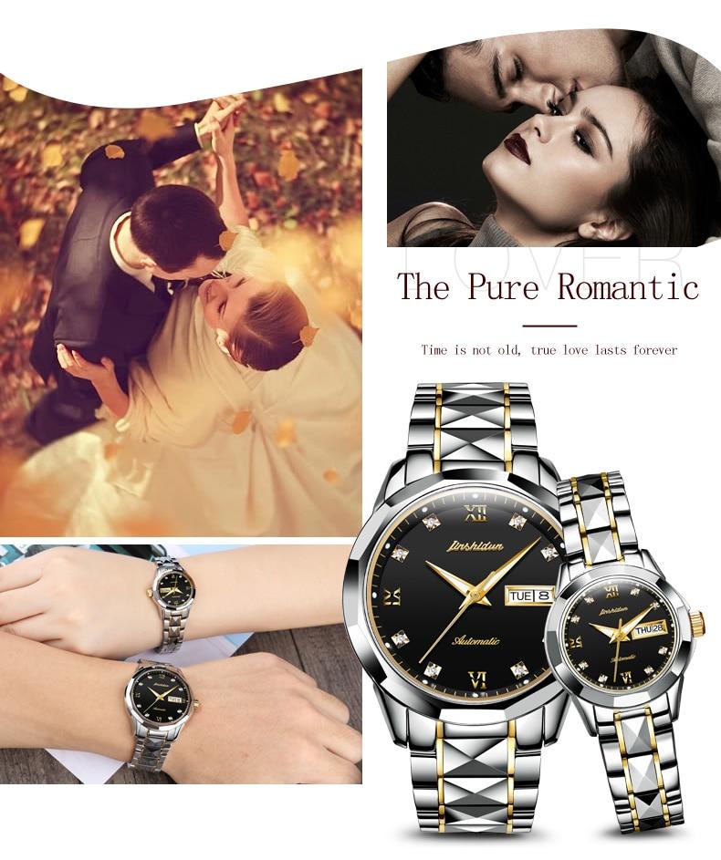 Jsdun-relógio mecânico automático de luxo do casal