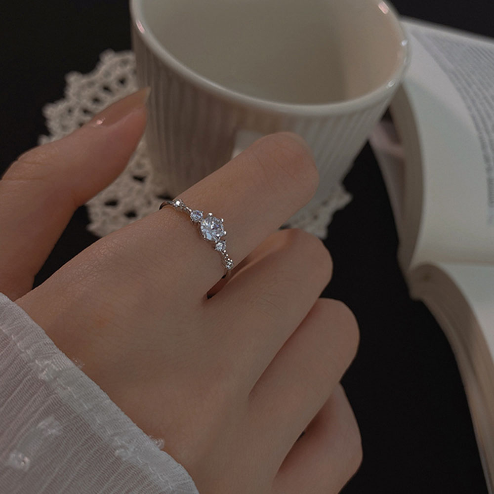 Anillos abiertos para dedos de circón brillante para mujer, diseño ajustable, anillo de compromiso para boda, joyería