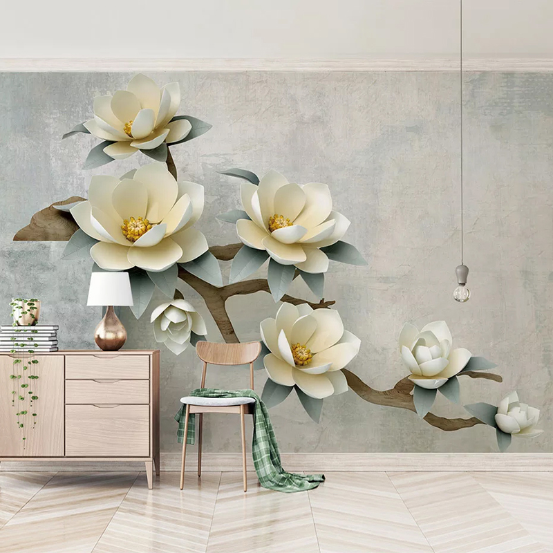 Custom Mural Wallpaper 3D Stereoscopic Embossed Flowers Living Room Background Wall Painting Bedroom Non-woven Wallpaper Murals
