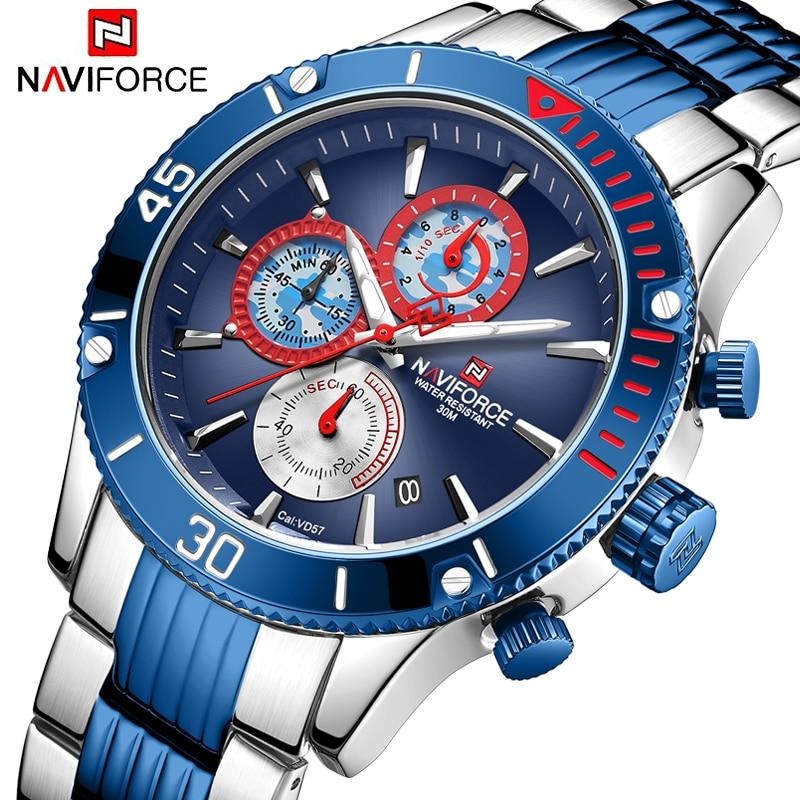 NAVIFORCE nouveau chronographe hommes montre haut de luxe marque étanche Quartz hommes montres sport mâle horloge Relogio Masculino