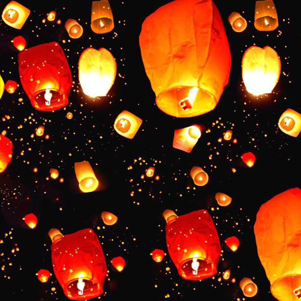 Китайские бумажные фонари в виде неба, летающие свечи, лампы для желаний, светильник ственское украшение для вечеринки и свадьбы, 30 шт.