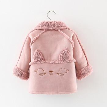 Winter Oufit Clothing Jackets Baby Girls Sweater Fur Coat Cartoon Cat Warm Windproof Toddler Girl Clothes Jacket Pocket Children reima jackets 8689577 for girls polyester winter fur clothes girl