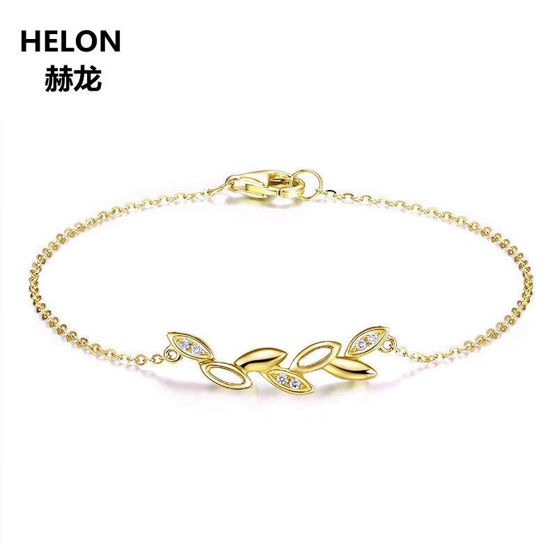 SI/H diamants naturels femmes Bracelet solide 18k or jaune chaîne Bracelet fiançailles mariage anniversaire bijoux fins