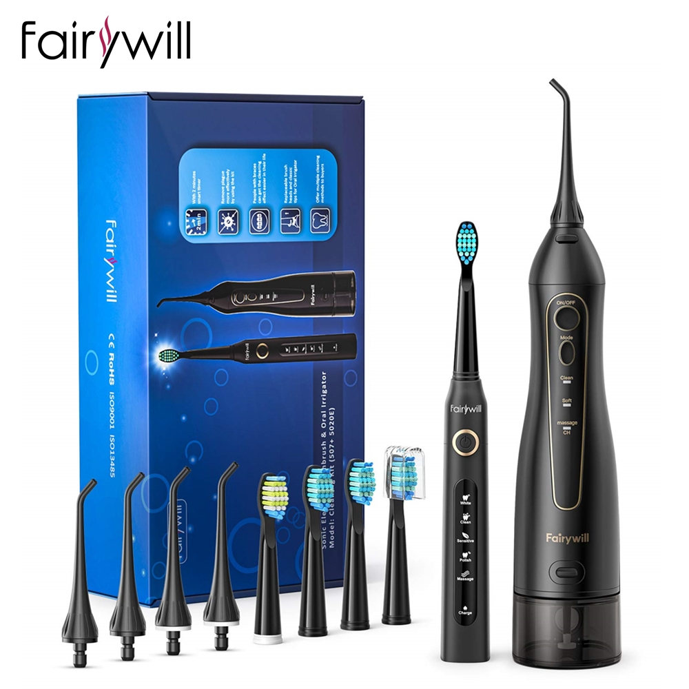 Fairywill Oral irrigateur USB Rechargeable eau Flosser Portable dentaire Jet deau 300ML réservoir deau étanche nettoyant 8 buses