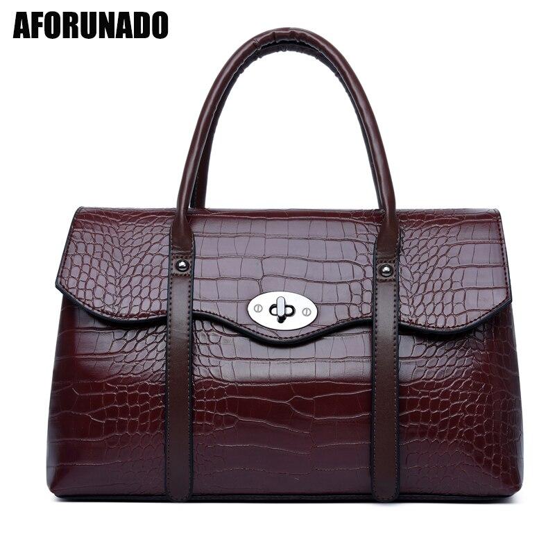 Boston Women Handbag 2020 New Fashion Crocodile Pattern Retro Large-capacity Crossbody Messenger Bag Vintage Pillow Tote Bag
