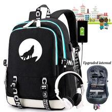 Mochila escolar Moon Wolf para adolescentes, niños y niñas, bolsa de lona de viaje luminosa, transpirable mochila para portátil, carga USB