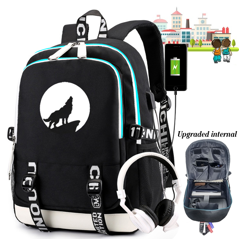 New Moon Wolf School Backpack For Teens Boys Girls Luminous Travel Canvas Bag Laptop Breathable Backpack Can USB Charging