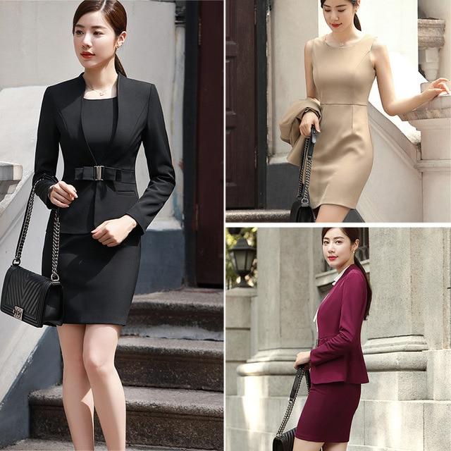 Vino caliente albaricoque negro mujer elegante Oficina chaqueta vestido de traje de chaqueta de oficina desgaste conjuntos trajes de negocios para