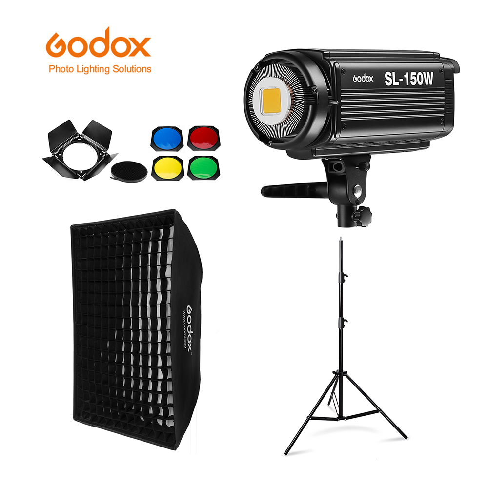 Godox SL-150W SL150W 5600K Version blanche panneau LCD LED continue lumière vidéo + 70x100cm softbox + 2.8m pied de lumière + porte de grange