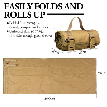 Tactical Roll-Up Shooting Mat Waterproof Lightweight Nylon Cloth Outdoor Hunting Molle Non-padded Mat for Rifle Gun Shotgun 4