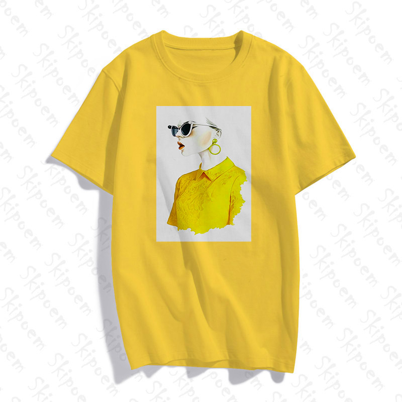 Nordic Cartoon Girl Tshirt Women Vintage Aesthetic Pink Korean Style Colorful Skipoem Short Sleeve Cotton Summer Tops Clothes|T-Shirts|   - AliExpress
