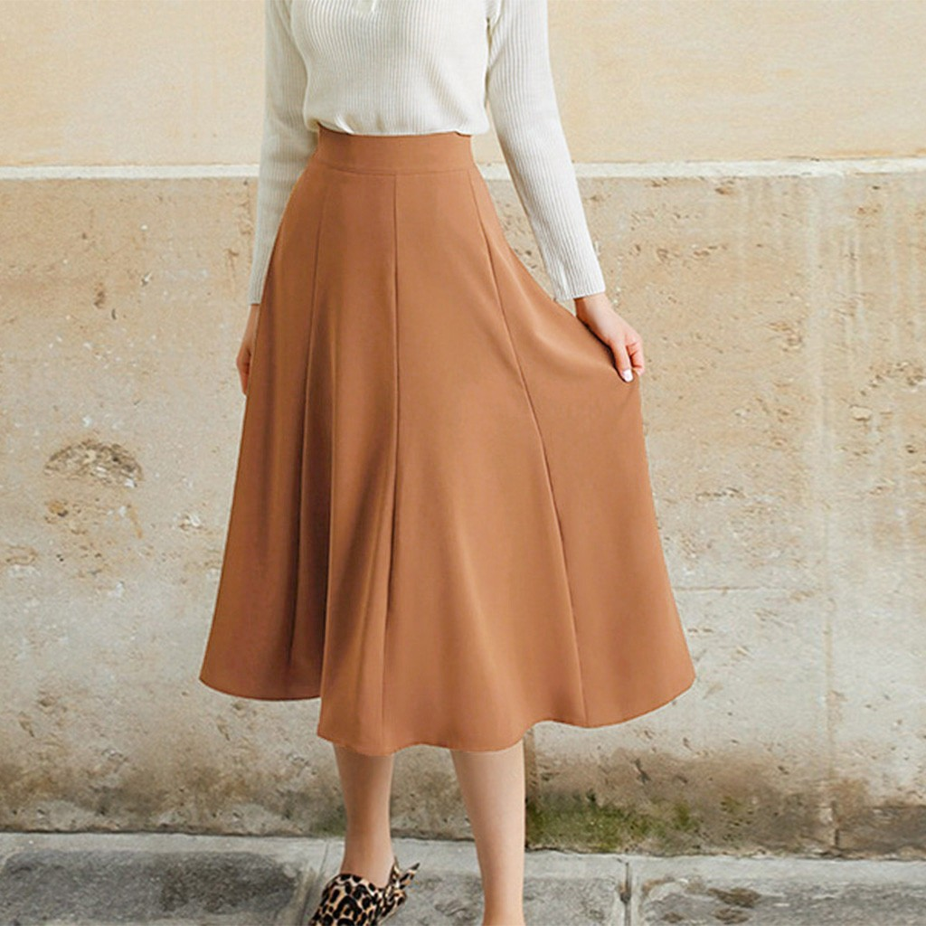 Women's Skirt Skirts faldas jupe femme saia Casual Womens Elasticity High Waist Solid Color Long Skirt Ladies Beach Skirt