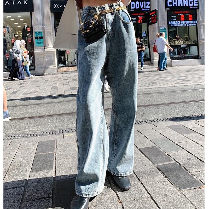 MISHOW 2019 Autumn Fashion Cotton Denim Pant Women High Waist Loose Straight Daily Dark Blue Jeans MX19C2370