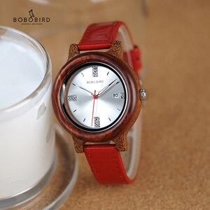 Image 1 - BOBO BIRD Brand Women Wood Watch 37mm Wooden PU Strap Wristwatches Female Timepieces Lady Quartz Watch relogio feminino