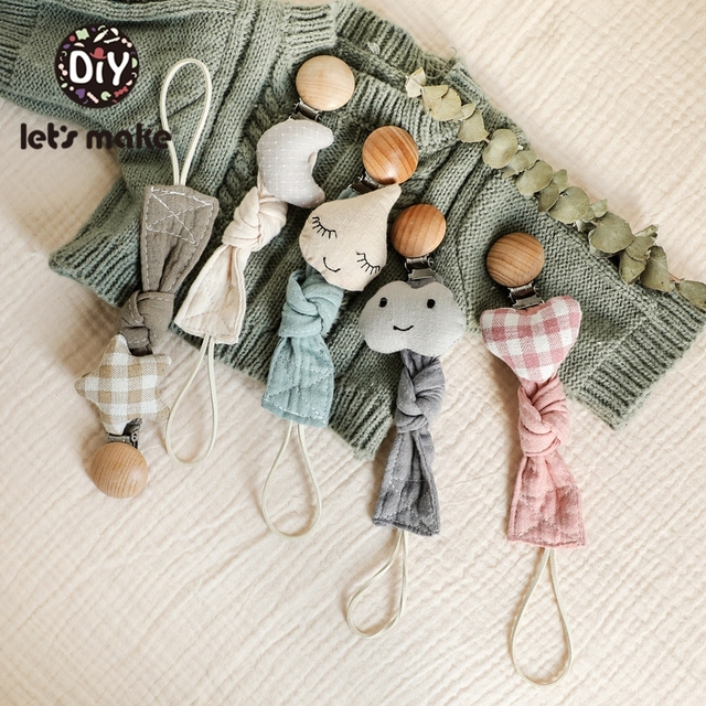 Let's Make Baby Pacifier 1PC Pacifier Chain Elephant Wooden Clip Geometric Crochet Beads Bag Wood Teether Tiny Rod Dummy Clips
