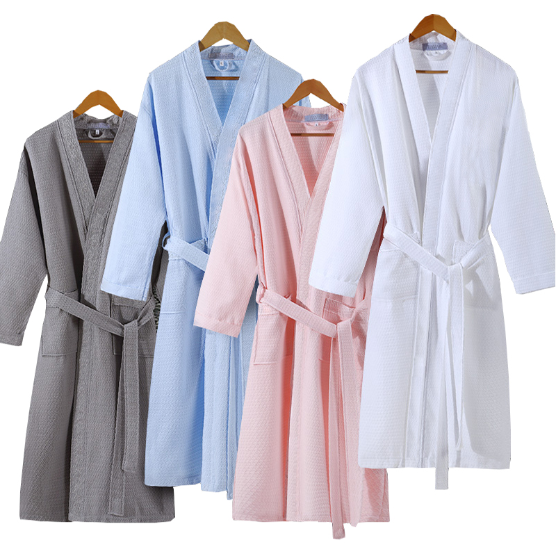 Lovers Summer Fashion  Waffle Bathrobe Women Suck Water Kimono Bath Robe Plus Size Sexy Peignoir Dressing Gown Bridesmaid Robes-in Robes from Underwear & Sleepwears on AliExpress