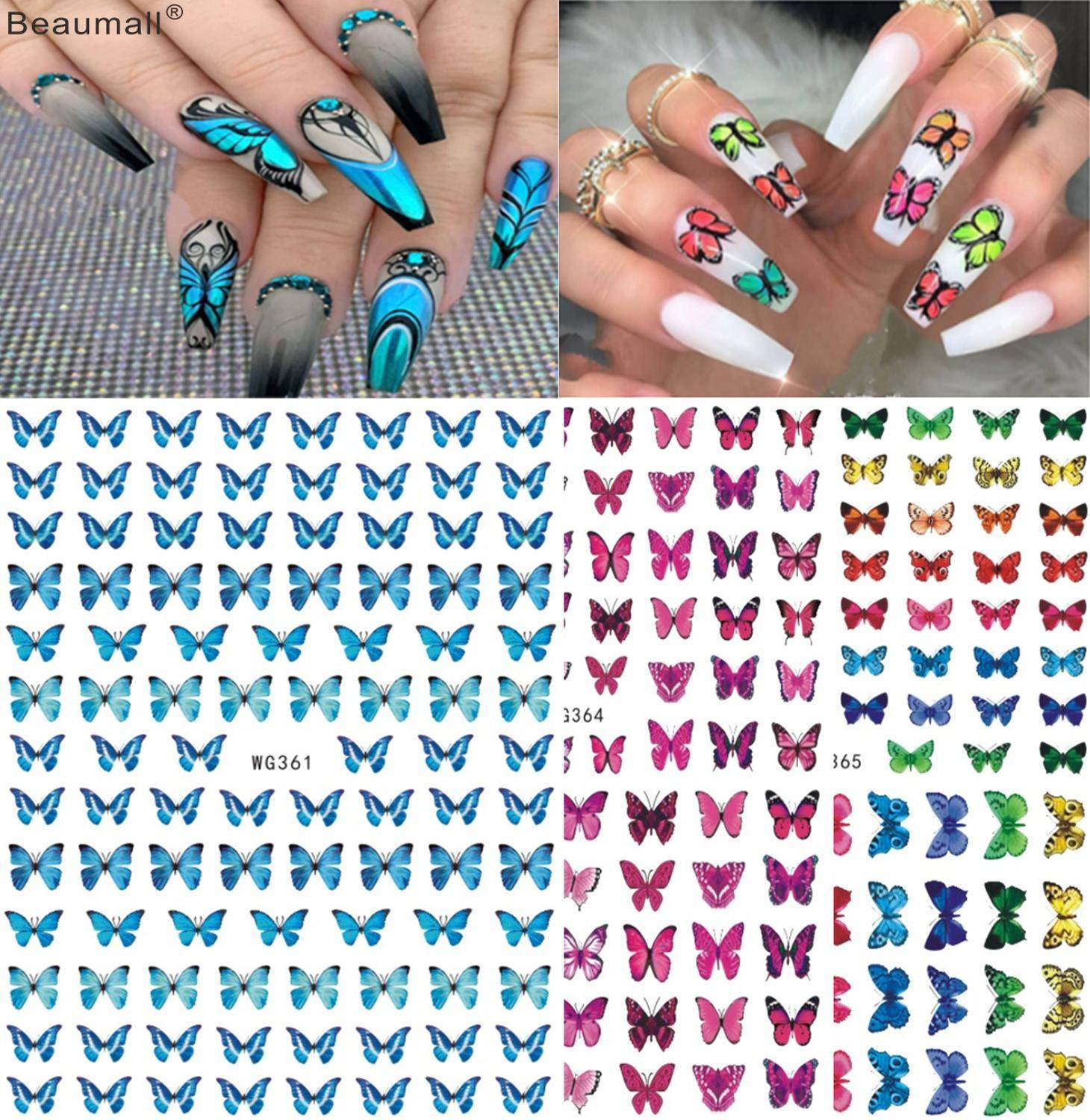 Elegant Butterfly Nails Art Manicure Back Glue Decal Decorations Nail Sticker For Nails Tips Beauty