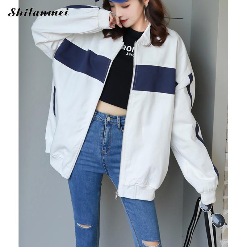 Women   Basic     Jacket   Female Patchwork Oversize Zipper   Jacket   Long Sleeve Casual White Coat 2019 Autumn Windbreaker   Jacket   Women